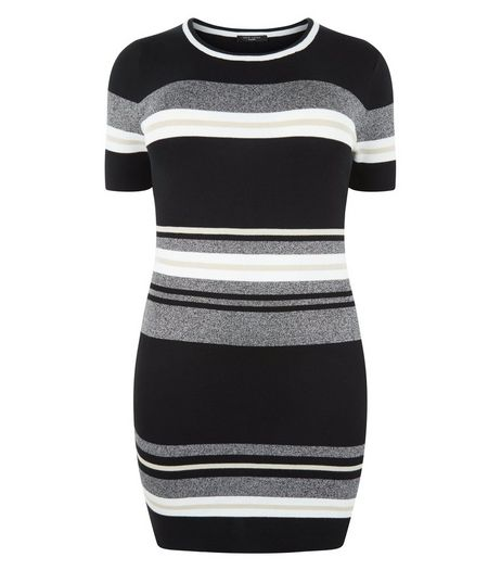 Curves Black Stripe Knitted Dress | New Look