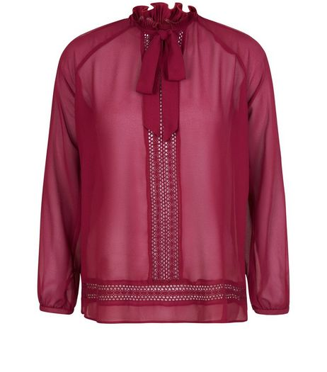 Blue Vanilla Dark Red Pussybow Blouse | New Look