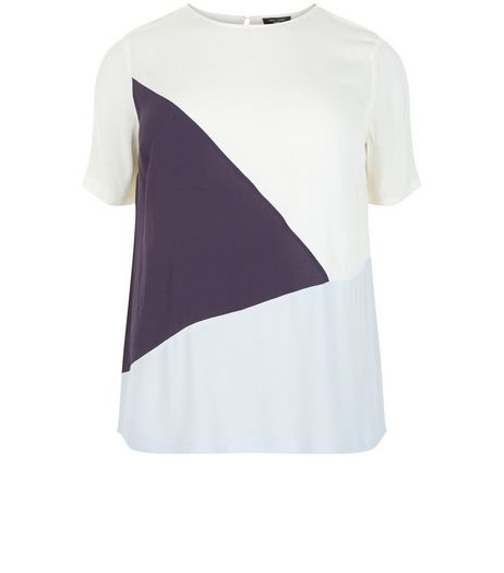 Curves White Colour Block T-Shirt | New Look