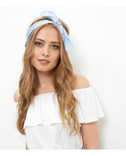 Pale Blue Satin Bandana | New Look