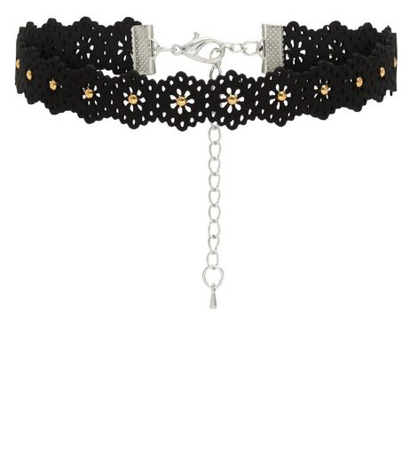 Black Laser Cut Out Studded Choker | New Look