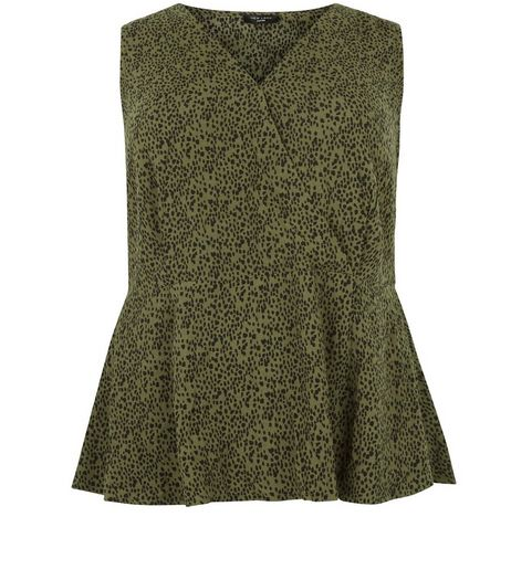 Curves Green Animal Print Wrap Top | New Look