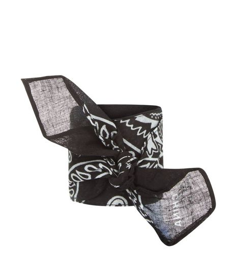 Black Paisley Print Bandana Cuff | New Look