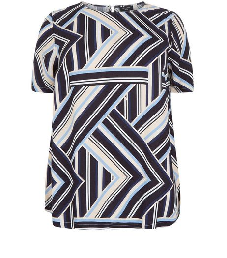 Curves Blue Abstract Print T-Shirt | New Look