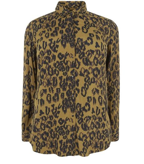 Curves Green Animal Print Long Sleeve Shirt | New Look