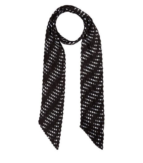 Black Polka Dot Pleated Skinny Scarf | New Look