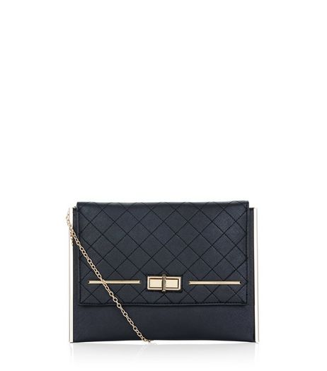 Black Twist Lock Quilted Clutch | New Look