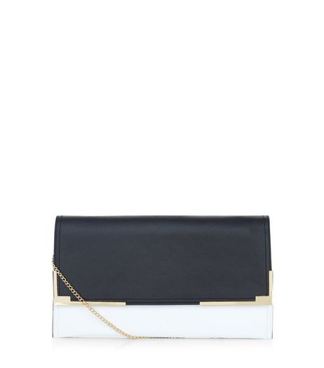 Black Colour Block Metal Trim Clutch  | New Look