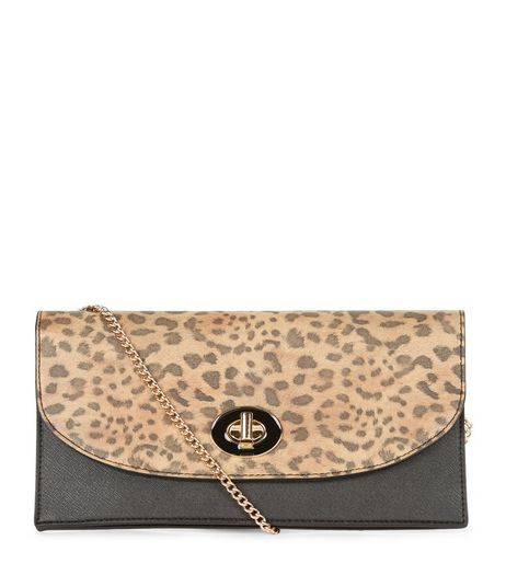 Brown Leopard Print Twist Lock Clutch | New Look