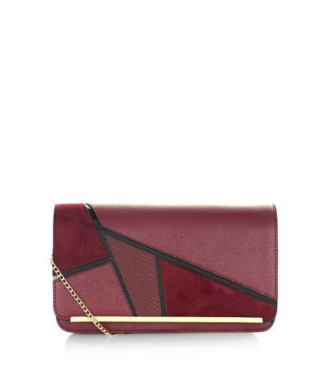 Burgundy Geo Panelled Clutch  | New Look