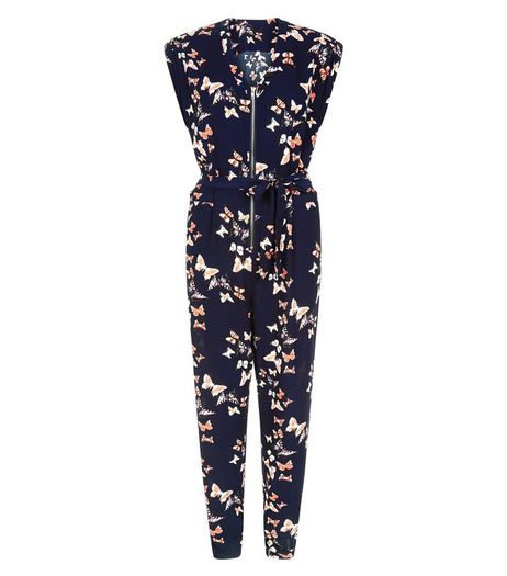 Cameo Rose Blue Butterfly Print Jumpsuit | New Look