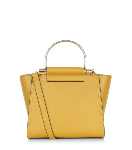 Mustard Metal Handle Strap Tote Bag  | New Look