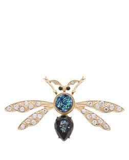 Gold Diamante Stone Bug Brooch | New Look