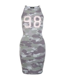 Teens Green Camo 98 Print Bodycon Dress | New Look