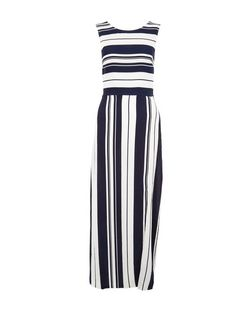 Cameo Rose Blue Stripe Split Side Maxi Dress | New Look
