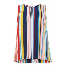 Curves Multicoloured Stripe Zip Back Top | New Look