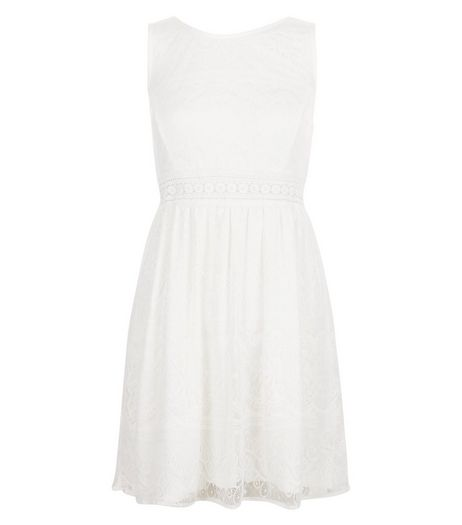 Blue Vanilla Cream Crochet Panel Sleeveless Dress | New Look