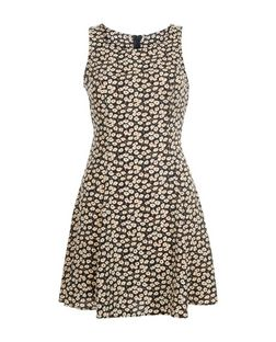 Blue Vanilla Black Floral Print Sleeveless Dress  | New Look