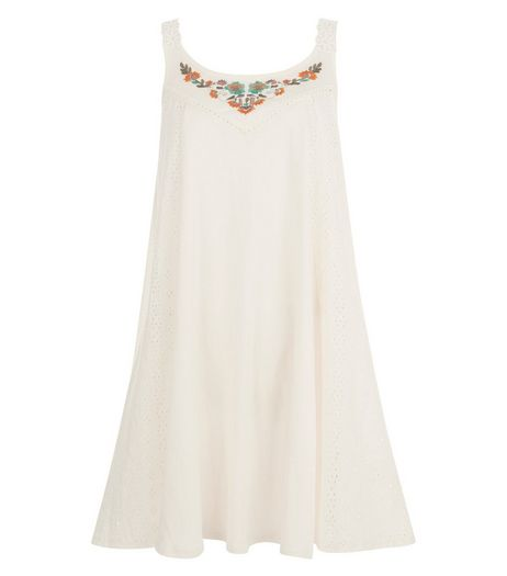Blue Vanilla Cream Embroidered Swing Dress | New Look