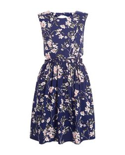 Blue Vanilla Navy Floral Print Cut Out Dress | New Look