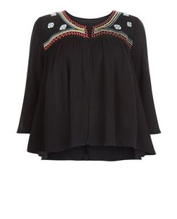 Blue Vanilla Black Embroidered Jacket | New Look