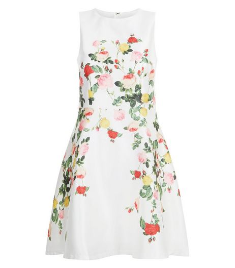 Blue Vanilla White Floral Print Sleeveless Dress | New Look