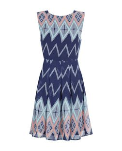 Mela Blue Zig Zag Print Skater Dress | New Look