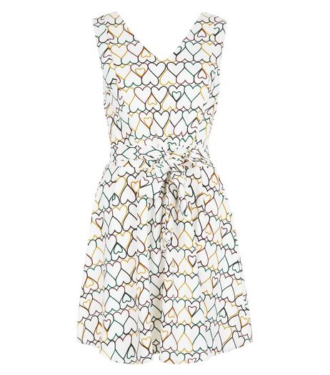 Mela White Heart Print Skater Dress | New Look