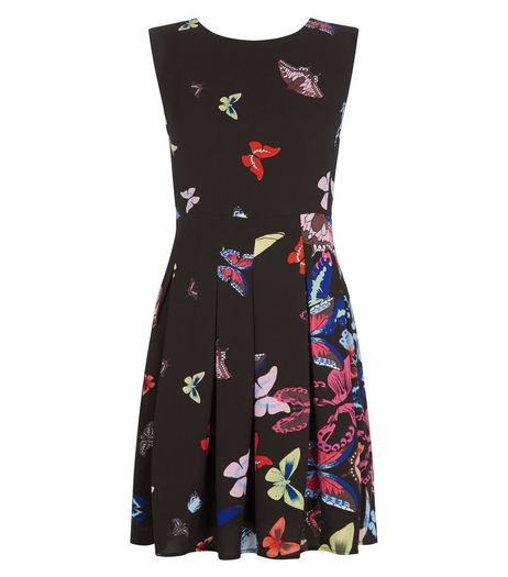 Mela Black Butterfly Print Pleated Skater Dress | New Look