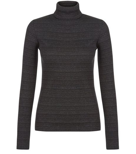 Dark Grey Ribbed Stripe Turtle Neck Long Sleeve Top  | New Look