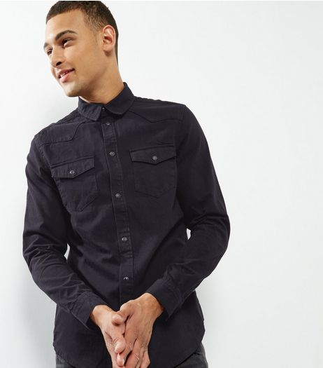 Black Double Pocket Long Sleeve Denim Shirt | New Look