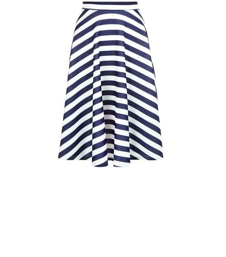 Mela Blue Stripe Scuba Midi Skirt | New Look