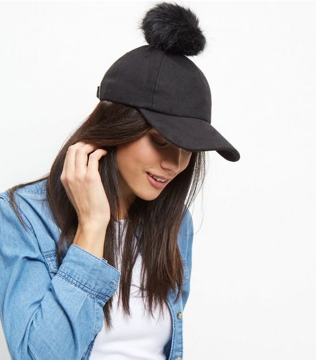 Black Faux Fur Pom Pom Baseball Cap | New Look