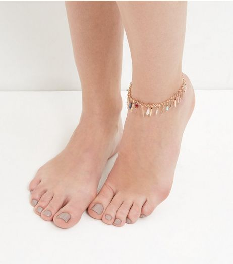 Gold Beaded Drop Anklet  | New Look