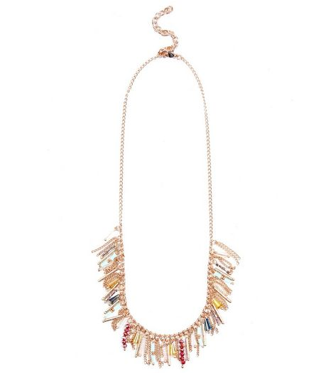 Gold Beaded Drop Necklace | New Look