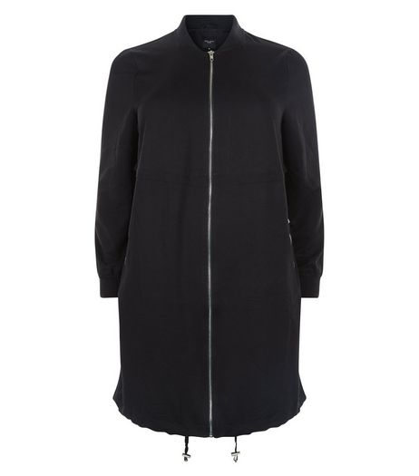 Curves Black Longline Bomber Jacket | New Look