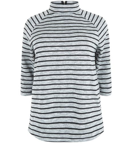 Curves Grey Stripe Funnel Neck Top | New Look