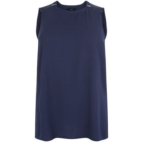 Curves Navy Zip Shoulder Sleeveless Top | New Look