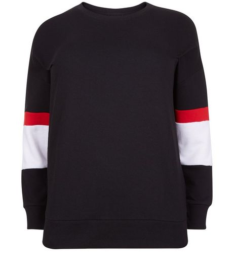 Curves Black Balloon Sleeve Stripe Jumper | New Look
