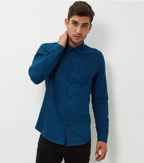 Blue Button Front Long Sleeve Shirt | New Look