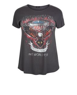 Curves Dark Grey Americana Print T-Shirt | New Look