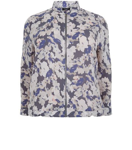 Curves Black Floral Print Chiffon Bomber Jacket  | New Look