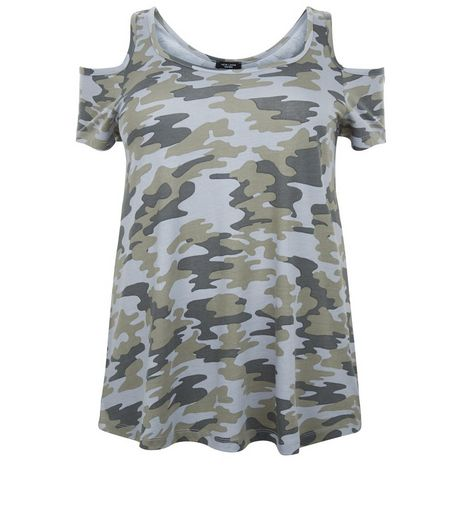 Curves Green Camo Print Cold Shoulder Top | New Look