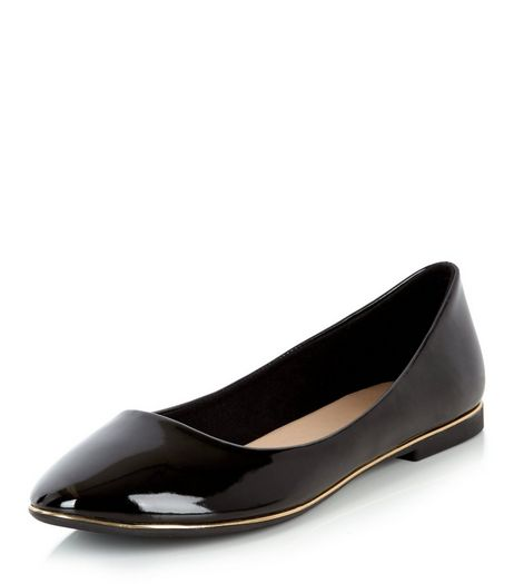 Black Patent Ballet Pumps  | New Look
