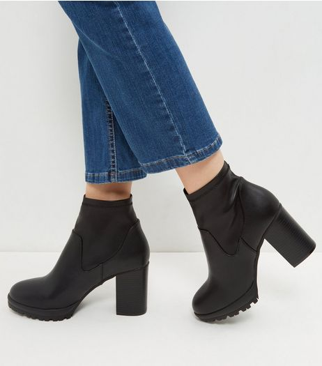Black Platform Elasticated Block Heeled Boots | New Look