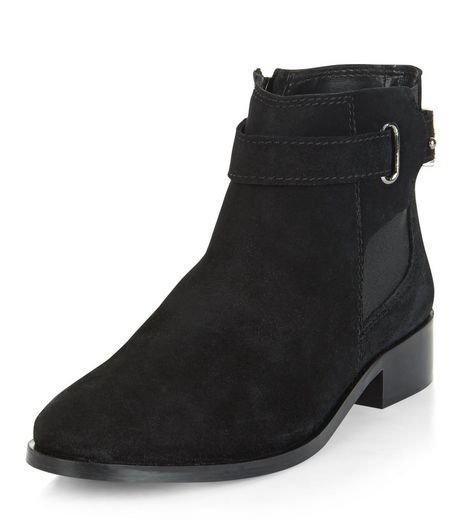 Black Leather Buckle Chelsea Boots | New Look