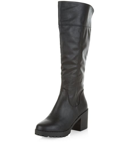 Black Leather-Look Knee High Block Heel Boots  | New Look