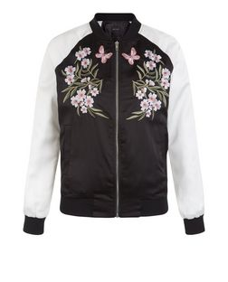 Teens Black Contrast Sleeve Embroidered Bomber Jacket | New Look