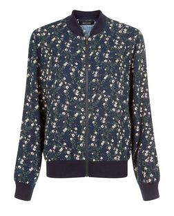 Blue Ditsy Floral Print Bomber Jacket  | New Look