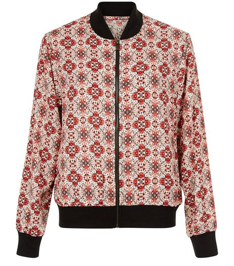 Red Tile Print Bomber Jacket  | New Look